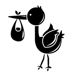 Stork child icon simple black style vector