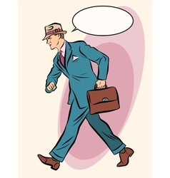 Strong businessman goes forward vector image