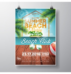 Summer Beach Party Flyer Design with sunglasses vector image