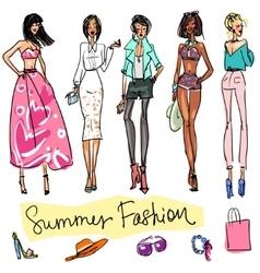 Summer fashion hand drawn doodles vector