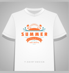 Summer holidays typography tee shirt print vector