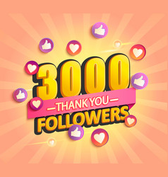 thank you new 3000 followers design vector image