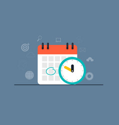 time management concept with calendar date and vector image