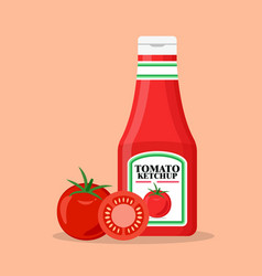 tomato ketchup bottle with fresh tomatoes vector image