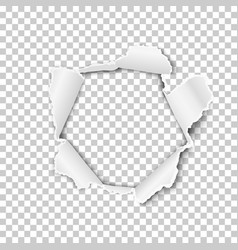 Torn hole in transparent sheet paper vector