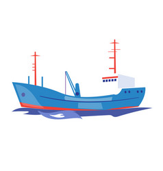 transportation ship on the water vector image