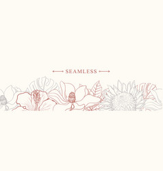 Tropical flowers border seamless pattern in sketch vector
