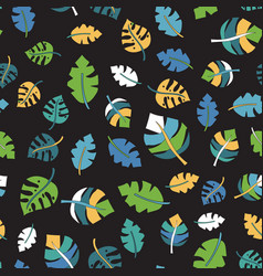 tropical leaf seamless pattern black vector image
