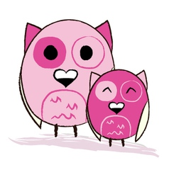 Two cute pink owls vector