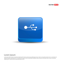 usb symbol icon - 3d blue button vector image