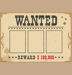 wanted poster western with text and vector image