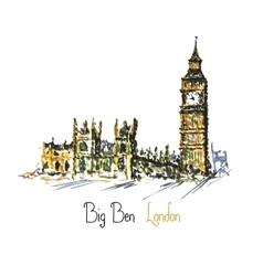 Watercolor Clock tower Big Ben Palace of vector
