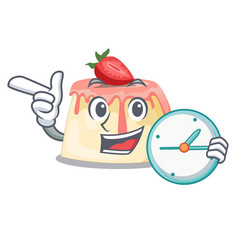 With clock strawberry pudding on wooden cartoon vector