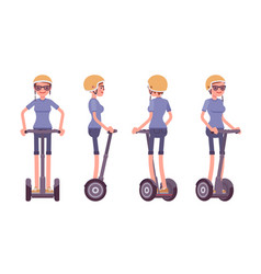 woman riding a black electric scooter vector image