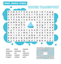 Word puzzle template with water transportation vector