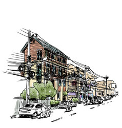 buildings on street sketchbook at thailand vector image vector image
