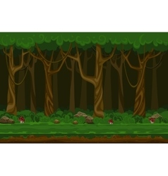 Cartoon computer games night forest landscape vector image vector image