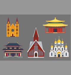 cathedral churche temple building landmark tourism vector image
