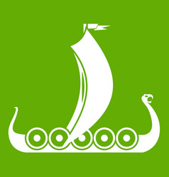 medieval boat icon green vector image