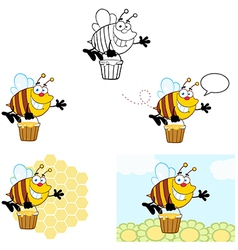 Smiling Bee Flying Collection vector image vector image