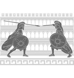 two gladiators stencil vector image