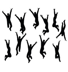 Boy silhouette in sitting jumping pose vector