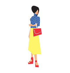 elegant fashion girl in skirt and blouse vector image