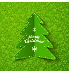 Green paper Christmas tree greeting card with sign vector image vector image