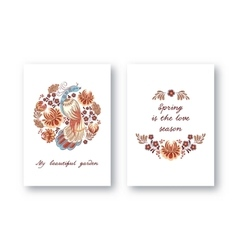Greeting cards with birds vector image