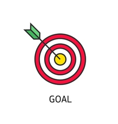Icon flat target with dart isolated goal vector