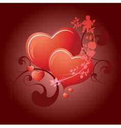 valentines day 2 hearts vector image vector image