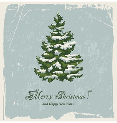 vintage christmas card with spruce in the snow vector image vector image