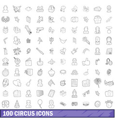 100 circus icons set outline style vector image