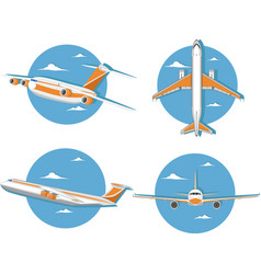 Aviation icon set with jet airplane in sky vector