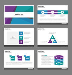 Blue green purple presentation templates design vector image