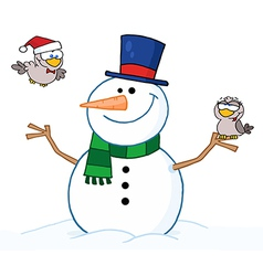 Friendly Snowman With A Two Cute Birds vector image vector image