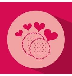 heart red cartoon cookie icon design vector image vector image