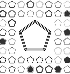 Line pentagon icon design set vector