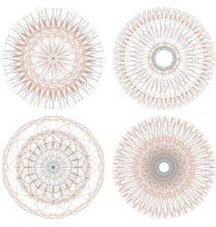 Abstract circular guilloches Set of 4 mandalas vector image