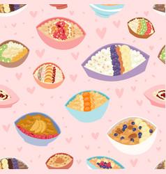 cartoon seamless pattern healthy oatmeal porridge vector image