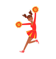 Cheerleader girl jumping with red and yellow vector
