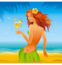Day beach background with beautiful hula girl and vector image vector image