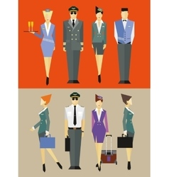Flight team captain and attendants vector image