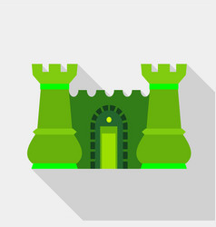 green ancient fortress with towers icon flat style vector image vector image