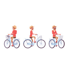 Handsome middle age man riding a bike vector