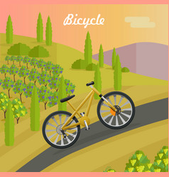 racing yellow bicycle on the asphalt track vector image vector image