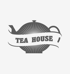 tea house logo or badge template with tea pot vector image vector image