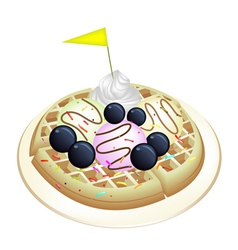 Tradition waffle with blueberries and ice cream vector