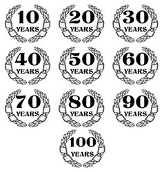 10 100 anniversary laurel wreath icon4 vector image