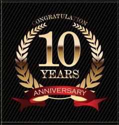 10 years anniversary golden laurel wreath vector image